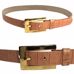 Escada Gold Logo Buckle Pink Crock Leather Belt 28